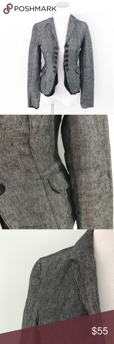 """United colors of Benetton Black gray blazer Jacket Black and gray Tweed like blazer jacket. Black lining. Front flap pockets. Claps on front to close Jacket. Length 21"""". Chest 16.5"""". 100% cotton. Size 38. Size 4 in USA according to Benetton size chart. United Colors Of Benetton Jackets & Coats Blazers"""