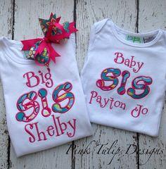 Big Sister/Baby Sister Appliquéd Shirt Set by PinkTulipOfDaphne