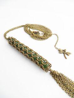 bohemian fairy pendant jade pendant chainmail by BohemianFairyShop