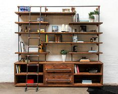 Bos Reclaimed Chestnut Stained Scaffolding Board, Dark Steel Pipe Shelving Unit with Drawers and Copper Powder Coated Adjustable Fittings — Urban Grain Desk Shelves, Pipe Shelves, Shelf, Loft, Diy Kleidung Upcycling, Vintage Lockers, Vintage Industrial Furniture, Industrial Design, French Industrial