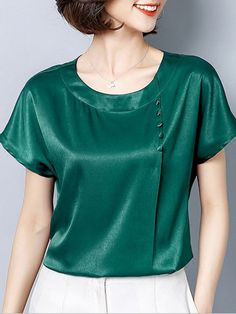 Contrast Solid Color O-Neck Short Sleeves Women's T-Shirts Blouse Styles, Blouse Designs, Short Sleeve Blouse, Short Sleeves, Blouses For Women, T Shirts For Women, Sewing Blouses, Girls Blouse, Casual Skirt Outfits