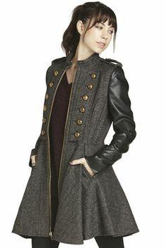 Faux-Leather Sleeve Military Coat | BCBGeneration