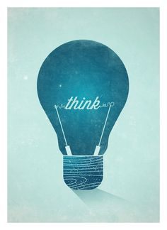 Think Graphic Wall decor poster - Vintage Light Bulb typographic art print A3