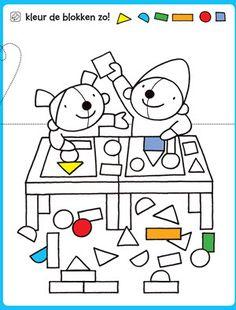 kleurplaat Kleur de blokken