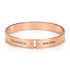 Tiffany Locks bangle in 18k rose gold with diamonds, medium.