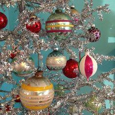 Vintage 1950's Silver Christmas Tree & Ornaments