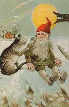Nordic Christmas, Christmas Cats, Troll, What's New Pussycat, Legends And Myths, Elves And Fairies, Retro Illustration, Woodland Creatures, Funny Art