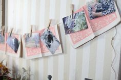 napkins to bring in color with baby pictures on clothesline