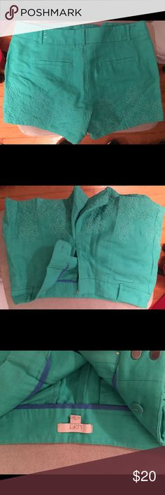 Brand new LOFT linen shorts Beautiful linen shirts for the summer ! Dark teal color with embroidery designs. Never worn but do not come with tags LOFT Shorts Skorts