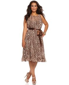 Jessica Howard Plus Size Dress, Sleeveless Belted Animal Printed Ruffled - Plus Size Dresses - Plus Sizes - Macy's - I like how simple this one is and the way it opens in the back is nice too.