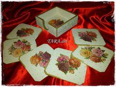 Set of 6 Coastersholder decoupage teacup by LaverdureStudio