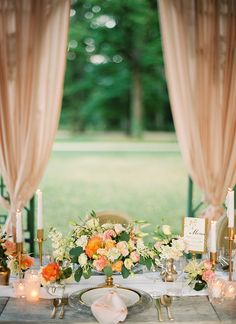 Romantic Draped Wedding Reception in Blush and Peach | Peaches & Mint Photography | A Blooming Spring Wedding full of Lush Flowers in Peach and Fresh Green - http://heyweddinglady.com/blooming-spring-wedding-full-of-lush-flowers/
