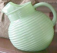 Jadeite Fireking pitcher.