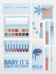 Kylie's 2018 Holiday Collection Favorites Bundle includes: Kissmas Lip Kit Milk & Cookies Super Glitter Gloss Cold As Ice Metallic Lipstick Snow Angel Highlighter 8 Piece Mini Lip Set Chill Baby Pressed Powder Palette Rave Makeup, Glam Makeup, Makeup Kit, Skin Makeup, Makeup Cosmetics, Kylie Jenner Makeup Collection, Kylie Makeup Set, Kylie Cosmetica, Maquillaje Kylie Jenner