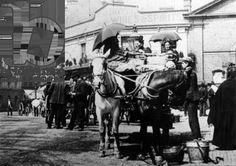 Horse cabs, Oxford Street, Kidderminster, 1910 (b/w photo)