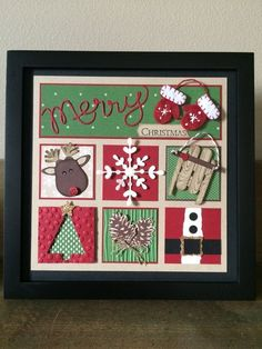 Christmas DIY Picture Frame Ideas for Decorating Your Space so that a Looks Festive Christmas Paper Crafts, Homemade Christmas Cards, Christmas Projects, Homemade Cards, Handmade Christmas, Holiday Crafts, Christmas Crafts, Christmas Blocks, Christmas Collage