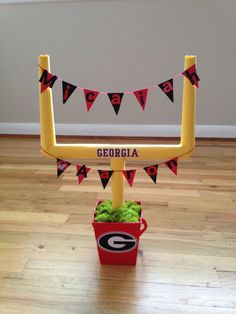 Sports theme baby shower. Football baby shower. Goal posts. Made from PVC for around 6 dollars. Made by me, Melissa.