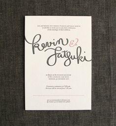 Kevin + Satsuki's Hand-Lettered Letterpress Wedding Invites | Paper Crave