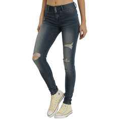 Hot Topic Blackheart Indigo Deconstructed Super Skinny Jeans ($36) ❤ liked on Polyvore featuring jeans, fitted jeans, mid rise skinny jeans, indigo jeans, skinny leg jeans and zipper jeans