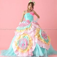 Amazon.co.jp: カラードレス ミントグリーンにのカラフルな花が咲くプリンセスライン ロングトレーン ウエディングドレス お色直しドレス 披露宴: 服&ファッション小物