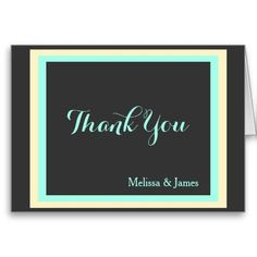 Wedding Thank You Notes, Charcoal, Cream & Mint, Personalized with Couple's Names