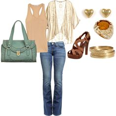 Dress up an old pair of jeans and a tank top with an elegant cover-up and funky gold jewelry!
