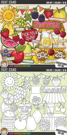 Lemonade stand / summer fruit clip art for teachers! Includes coloured clipart + black and white outlines all at 300 dpi for highest quality printing for your teaching resources and projects! | Hand-drawn clip art by Kate Hadfield Designs at Teachers Pay Teachers Scrapbook Sketches, Scrapbooking Layouts, Peanuts Comics, Love, Scrapbook Layouts, Scrapbooking Ideas, Scrapbook Page Layouts