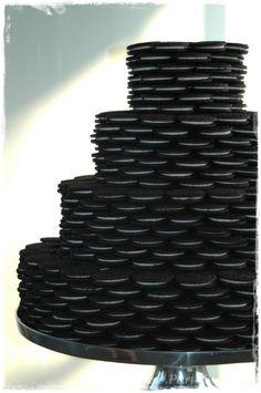 black and white party food ideas. Mini cake tiers with Oreos #feelbeautiful #whbm