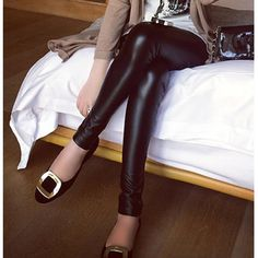 Fitted Solid Color Stylish Narrow Feet Faux Leather Black Women's Leggings, BLACK, ONE SIZE in Leggings | DressLily.com