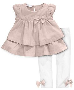 First Impressions Baby Set, Baby Girls 2-Piece Tiered Tunic and Leggings