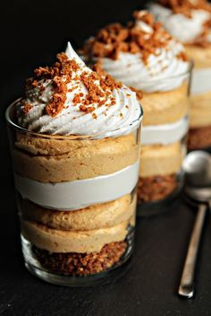 Instead of a pie crust, crush Biscoff cookies into a crunchy base for your spiced pumpkin puree. Then, layer on whipped cream cheese and repeat these steps for an effortless finale to a holiday feast.  Get the recipe at My Baking Addiction.   - CountryLiving.com