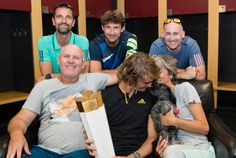 @nextgenfinals #Zverev celebrates his #CoupeRogers win with his team… and a special congrats from pup, Lovik! #ATPMasters1000 #NextGenATP