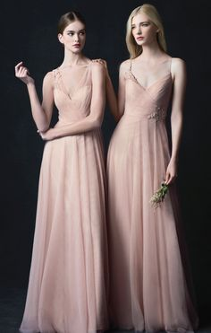 Brielle + Emelie Dress in Cameo Pink Soft Tulle by Jenny Yoo new for 2017.  Blush, soft pink floral embroidered bridesmaids dresses. All season weddings; spring, summer, fall and winter.  #springwedding #pink