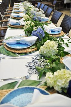 Blue and white and green baby shower - via Bungalow Blue Interiors