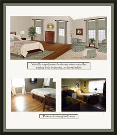 This virtually-staged design combines two small bedrooms into a beautiful master bedroom suite. Virtual-staging by GMB Designs. htpp://www.gmbdesignscustom.com Virtual Staging, Home Staging, Small Bedrooms, Master Bedroom, Furniture, Beautiful, Design, Home Decor, Master Suite