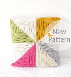 "NEW, Pin-Wheel, Cushion, Pattern, Pillow, PDF, Crochet, 16""x16"", Kitsch, Geometric, Pin, Wheel, Modern,"