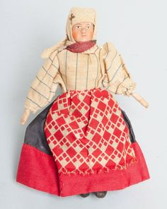 Antique Russian Peasant Bisque Head Doll Made in Soviet Union Tag 6.5