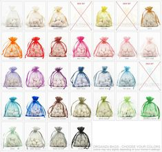 200 Organza Bags, 3 x 4 Inch Sheer Fabric Favor Bags, For Wedding Favors, Drawstring Jewelry Pouch- Choose Your Color Combo