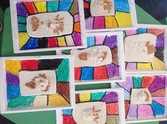 Retrato de arcilla blanca y marrón para el regalo del día del padre. Alumnos de 4 años. Colegio Nuestra Sra. Santa María. Madrid.