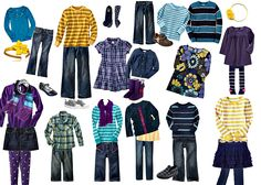 What to wear for family portraits in purple, teal and gold.