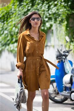15 workwear outfit ideas from the most stylish A-Listers: a suede shirtdress.