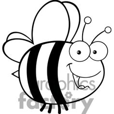 6543 Royalty Free Clip Art Black And White Cute Bee Cartoon Mascot Character