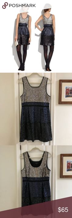Madewell Color Blocked Sequin Dress Size 14 Madewell's Broadway and Brooms color blocked sequin dress. Black/Navy/Silver sequins. Perfect for the holidays. Excellent pre-owned condition. Size 14. Polyester. Madewell Dresses Mini