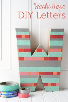 DIY Washi Tape Letter Craft, create Sewing Room Decor