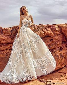 oksana mukha 2018 bridal strapless sweetheart neckline full embellishment romantic elegant a line wedding dress chapel train (esfir) mv -- Oksana Mukha 2018 Wedding Dresses