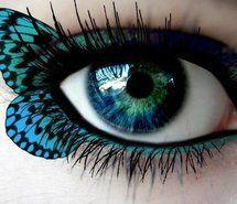 Beautiful, blue eyeshadow, bluegreen eyes, butterfly..how fun