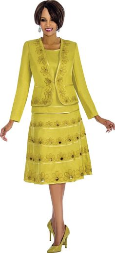 Style 7671 from Terramina is a three piece ladies' church suit with floral embellishment.