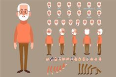 Old man and woman characters ~ Illustrations ~ Creative Market Character Design Sketches, Character Design Cartoon, Character Design References, Fantasy Character Design, Character Drawing, Character Design Inspiration, Character Concept, 2d Character Animation, Character Creation
