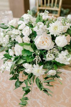 Classic white floral wedding centerpiece with greenery - Courtney Inghram Virginia Wedding Florist Floral Wedding, Wedding Colors, Wedding Flowers, August Wedding, Wedding Day, Floral Centerpieces, Flower Arrangements, Ceremony Arch, Chuppah