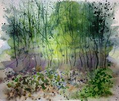 Woodland - watercolour by Liz James
